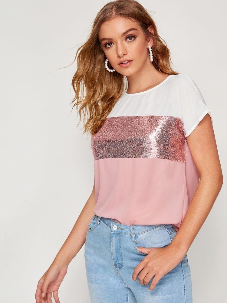 Vestido camiseta con costura de lentejuelas en contraste
