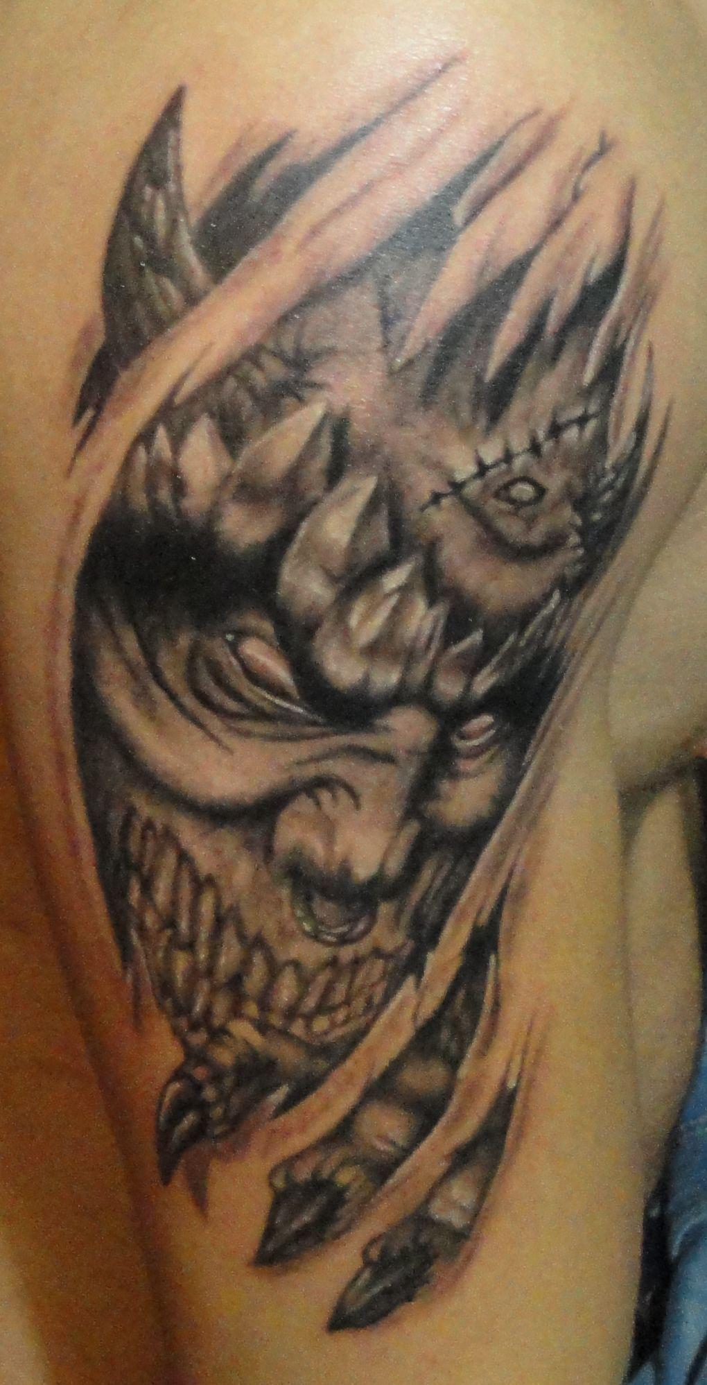 Www Tattnroll Com 3d Ripped Skin Monster Tattoo Tattoo Tattnroll Tatt N Roll Tattoo Artists Emre Ere Skin Tear Tattoo Ripped Skin Tattoo Taurus Tattoos