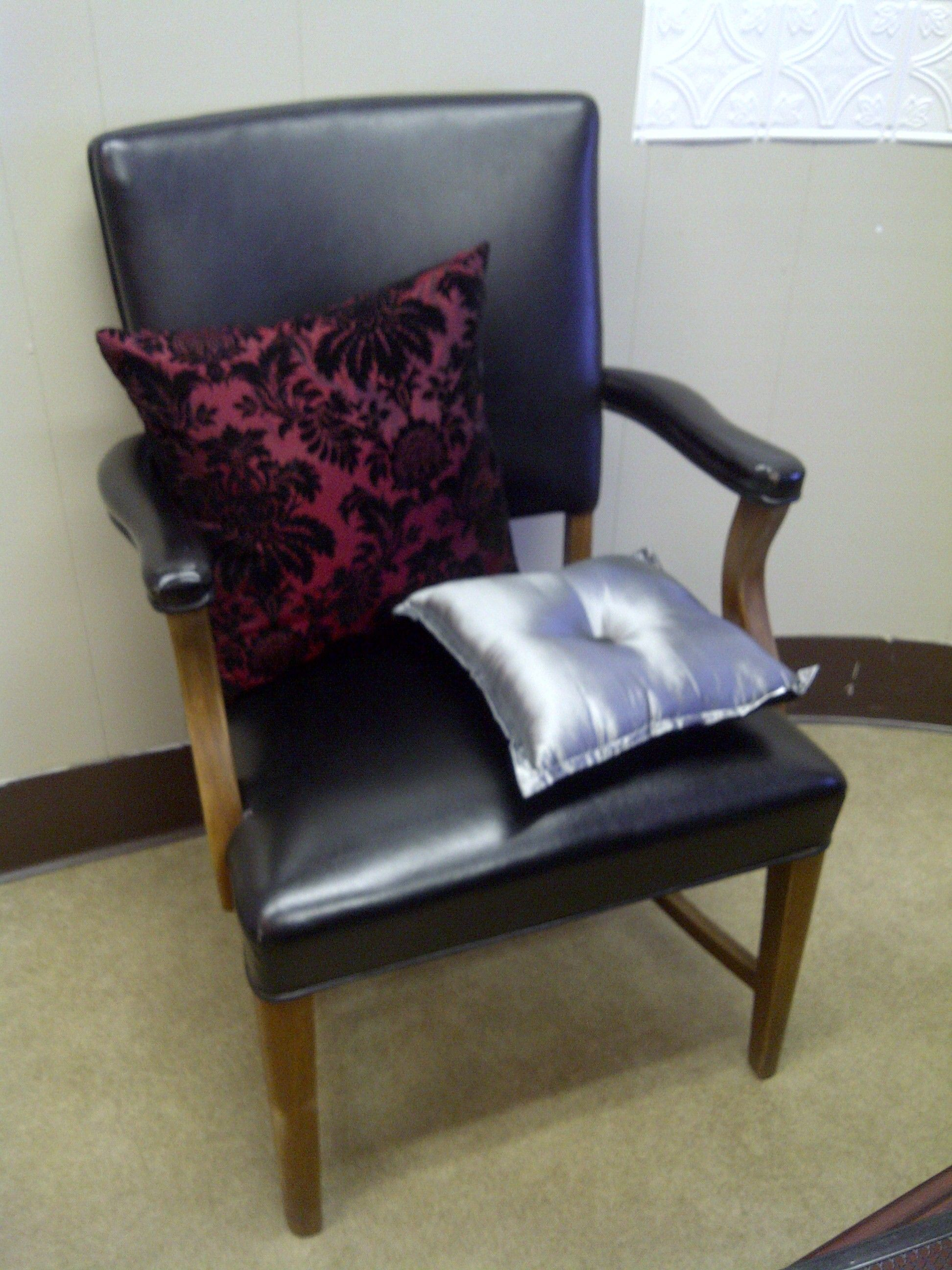 Old chair u pillows that i had stored cheap decorating office