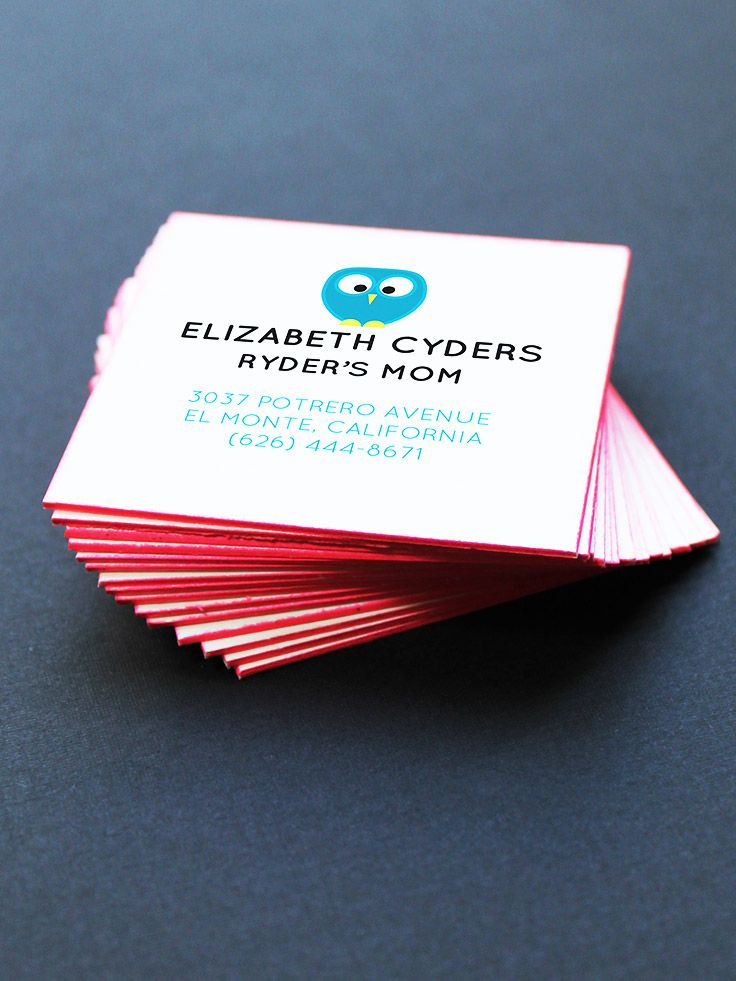 Fluffy Owl Business Cards with Red Painted Edge by Oubly.com ...