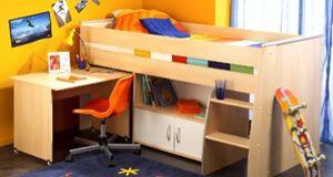 Parisot Reverse Buche Kinderhochbett Mit Arbeitstisch