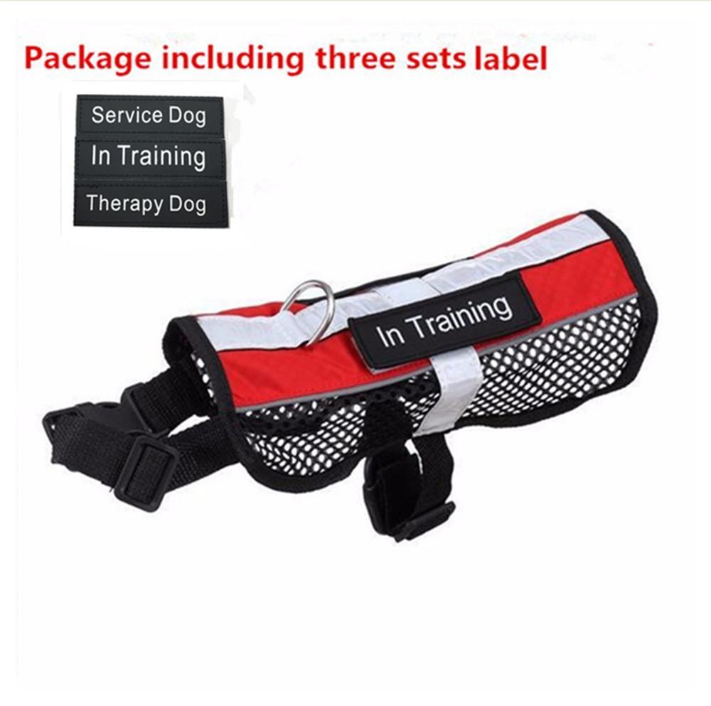 Reflective Breathable Service Dog Harness Vest Removable Tape Pet