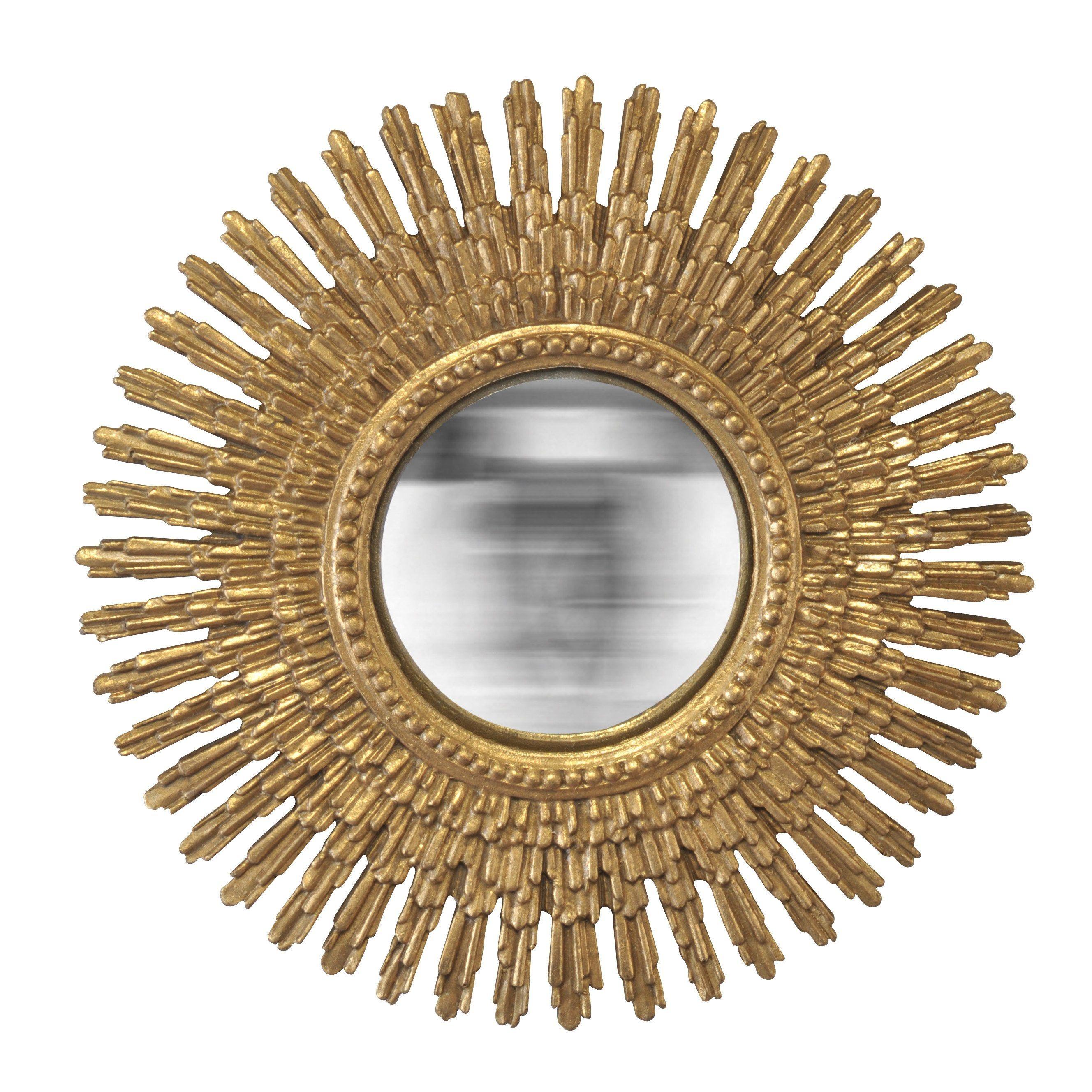 Miroir Rond Soleil Convexe Or Diam 30 Cm Miroir Soleil Miroir Rond Et Miroir
