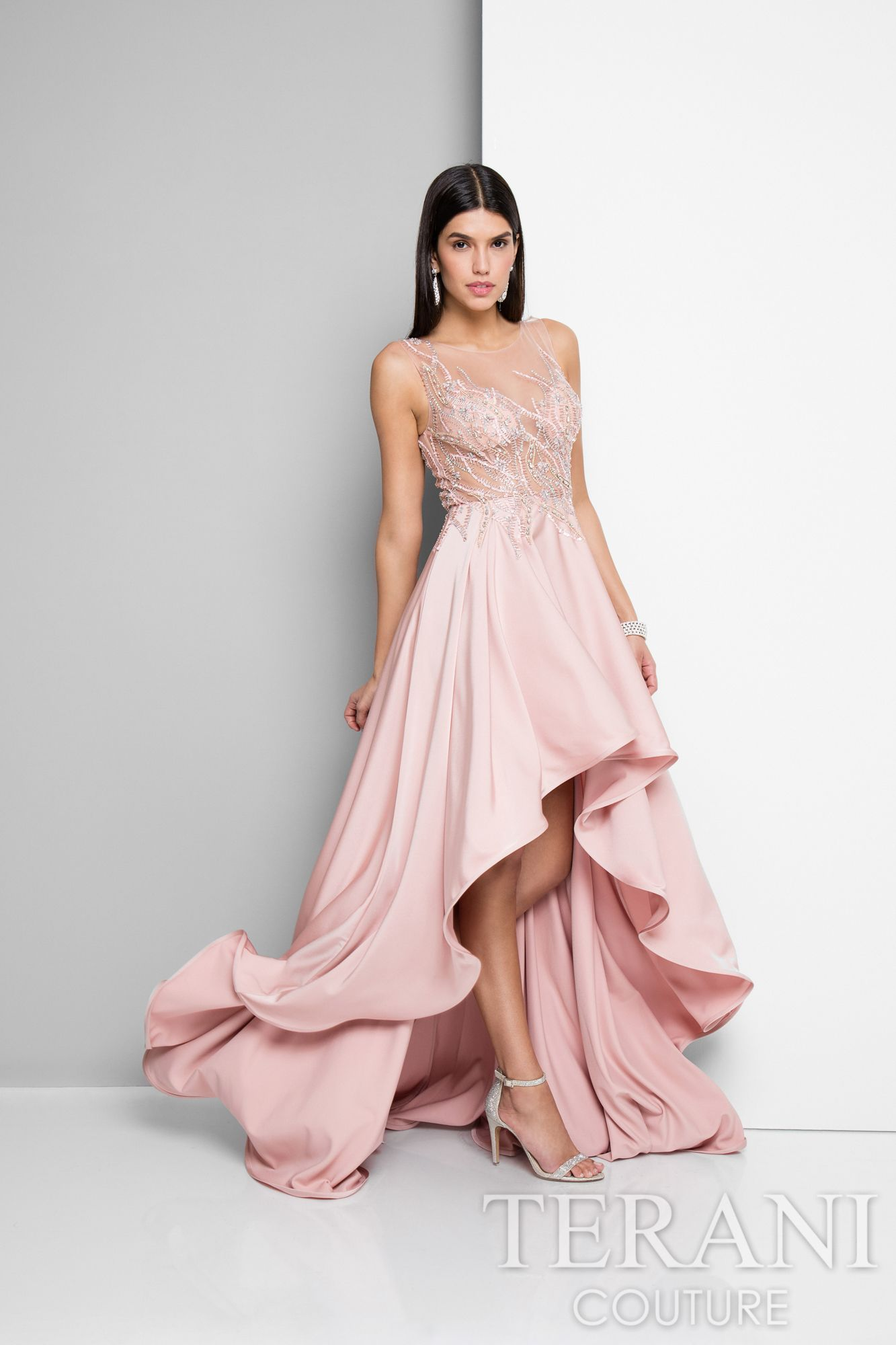 Beaded vines decorate the sheer illusion top of this blush colored ...