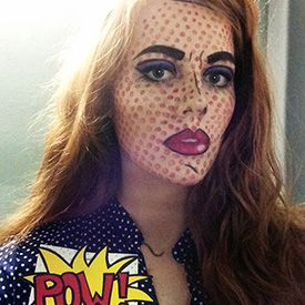 DIY Pop Art / Cartoon Girl Halloween Costume.  Step by step directions and link to video tutorial