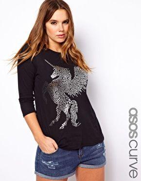 Aumentar Camiseta con estampado de unicornio exclusiva de ASOS CURVE