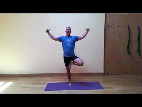 this variation of tree pose uses eagle pose arms instead
