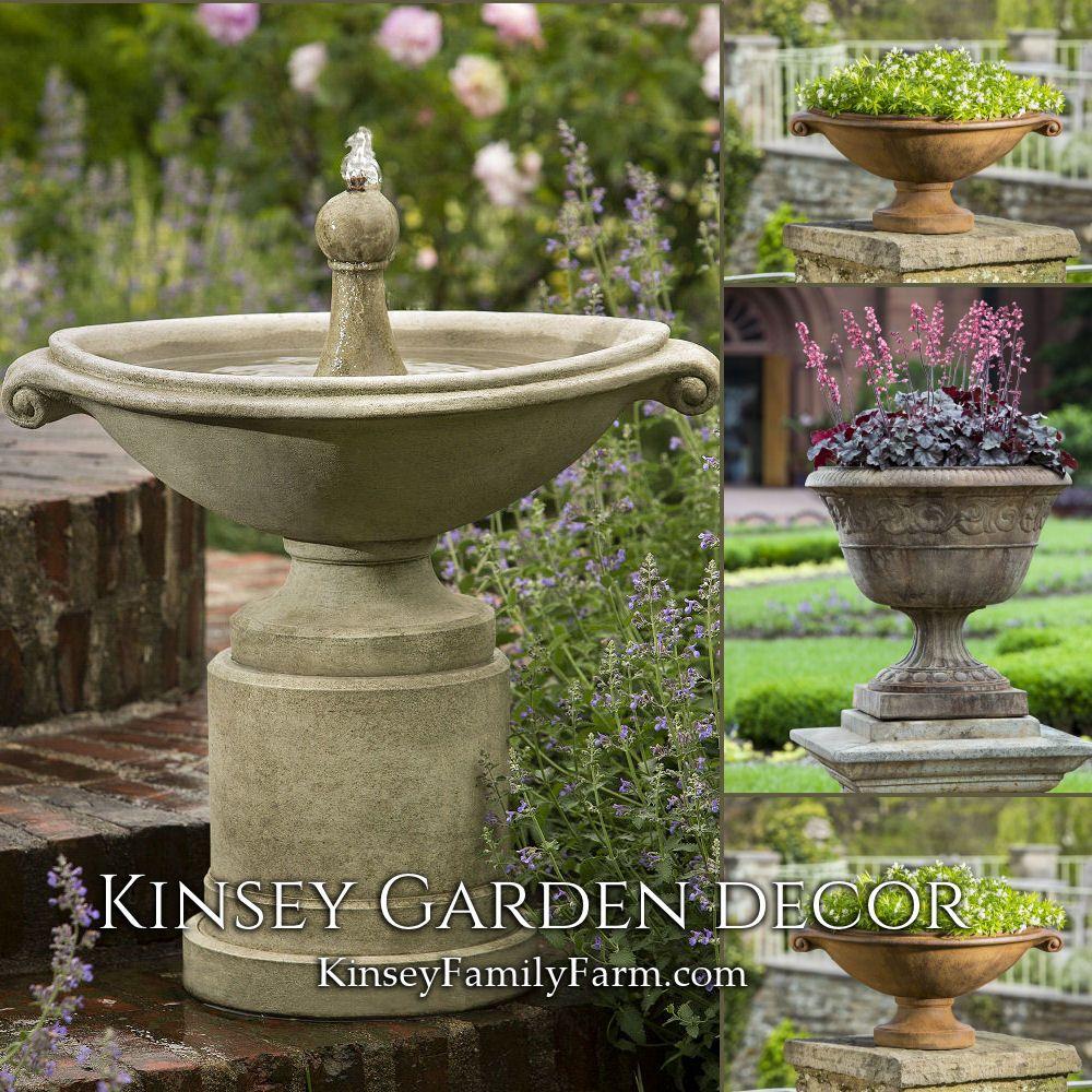 Kinsey Garden Decor Borghese Small Pedestal Water Fountain And Urn Planters Patio Set European Diy Garden Fountains Backyard Water Fountains Small Fountains