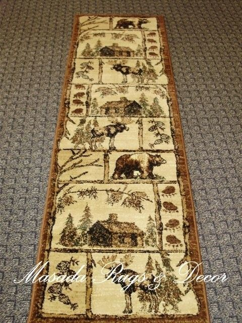 Novelty Cabin Style 2 X 7 Area Rug Runner Lodge 362 Browns Beige Green