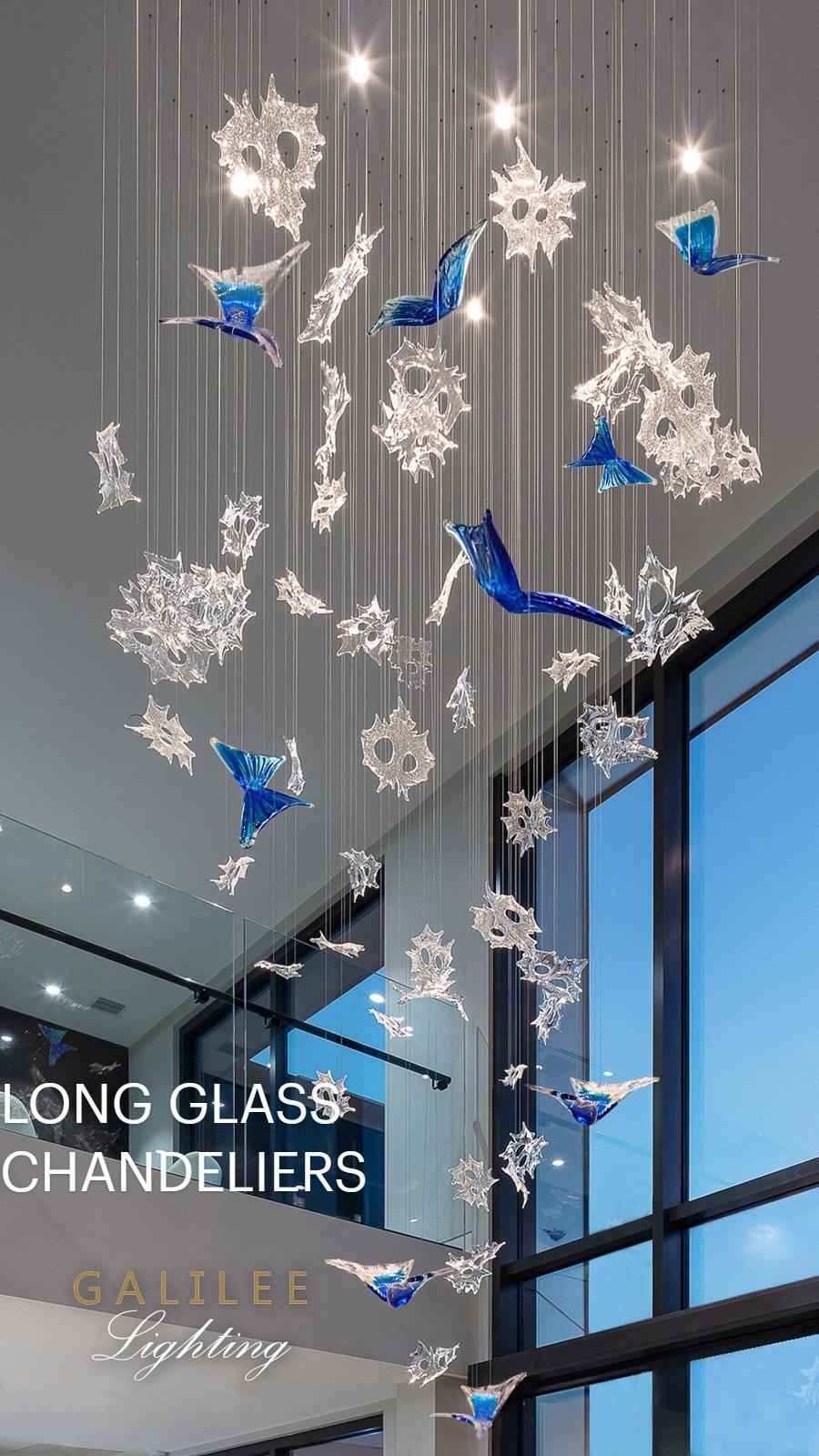 LONG GLASS CHANDELIERS