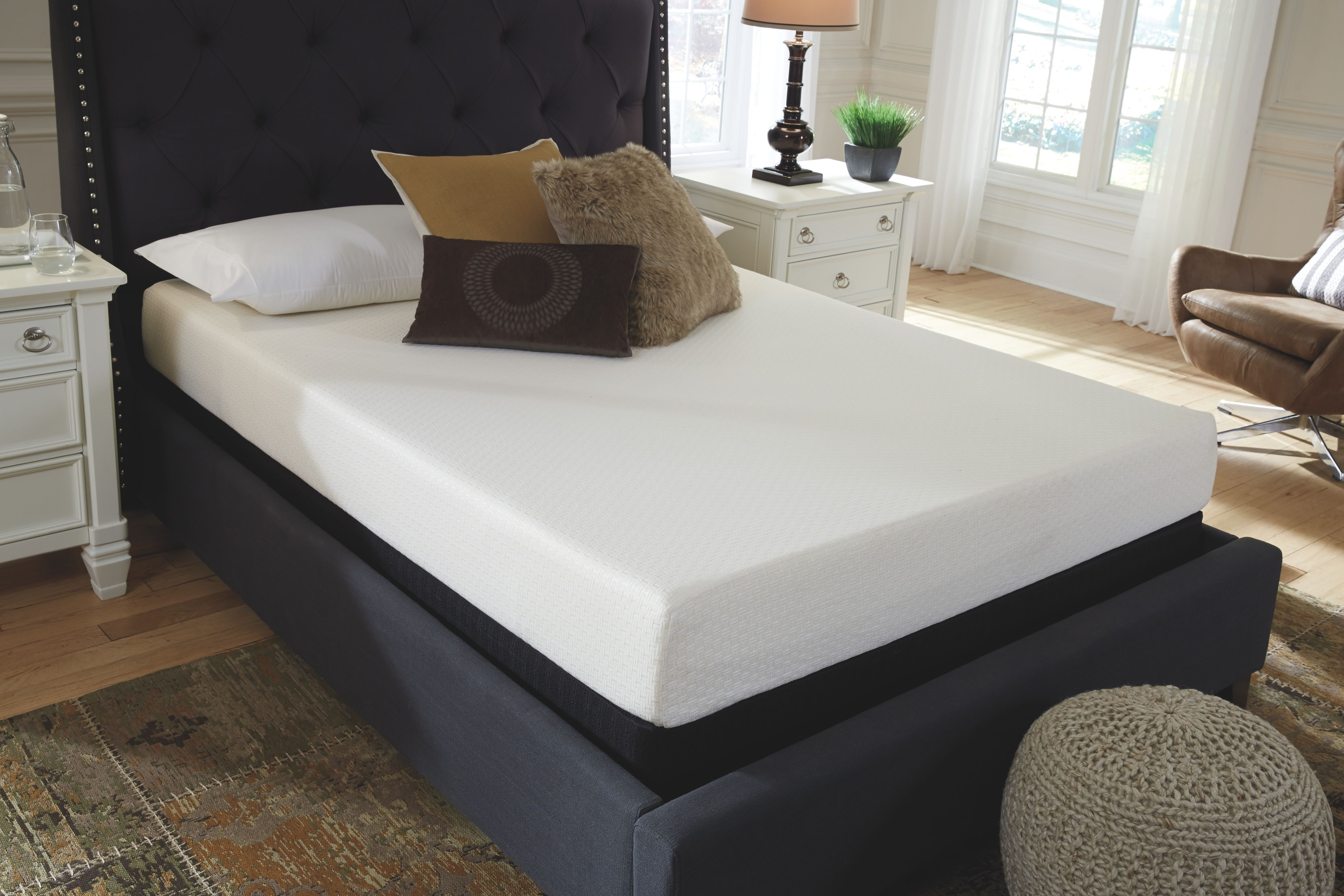 """Best Dolante Queen Upholstered Bed With 8"""" Memory Foam Mattress 400 x 300"""