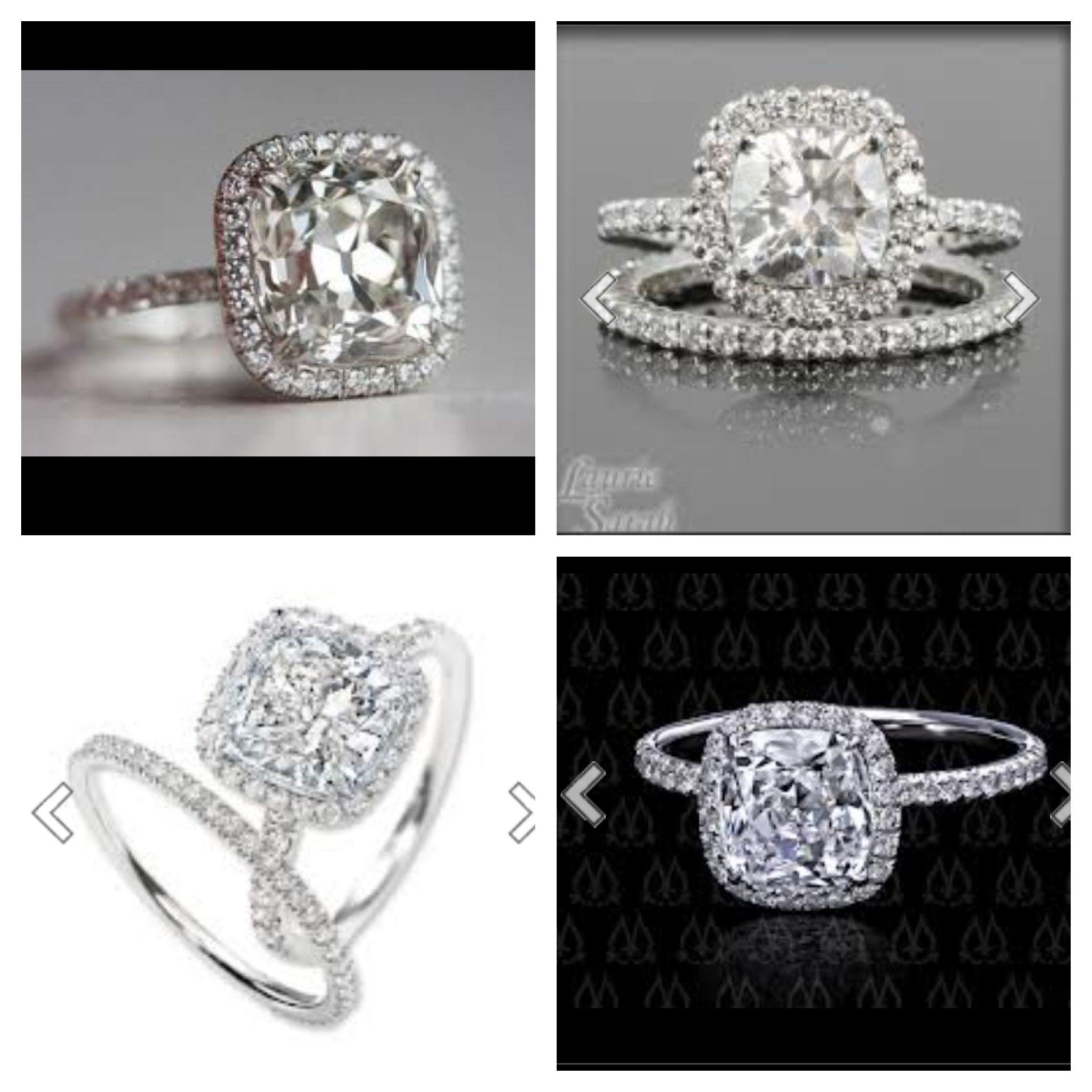 Cushion cut or round cut diamond in a cushion halo setting with a