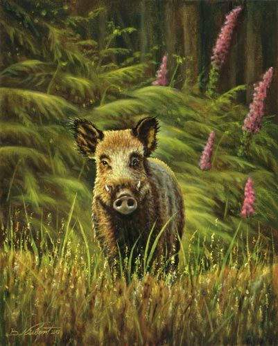 """schwarzwild  wildschwein  wildschweingemälde """"keiler"""