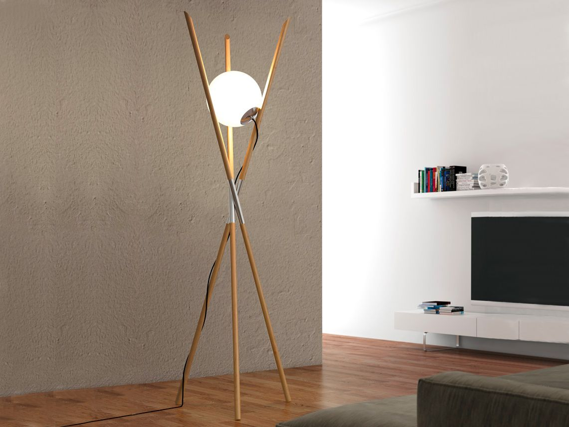 MOON by Envy | ‪#‎Design‬ Noji      Ash ‪#‎wood‬ floor ‪#‎lamp‬ designed by Noji - Berlin. Textile wire. Foot dimmer. H 212 cm.