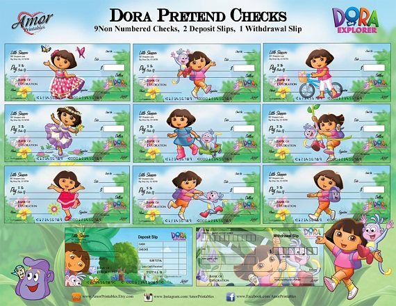 Dora the Explorer Pretend Checks Dora Party Printable Kids Play