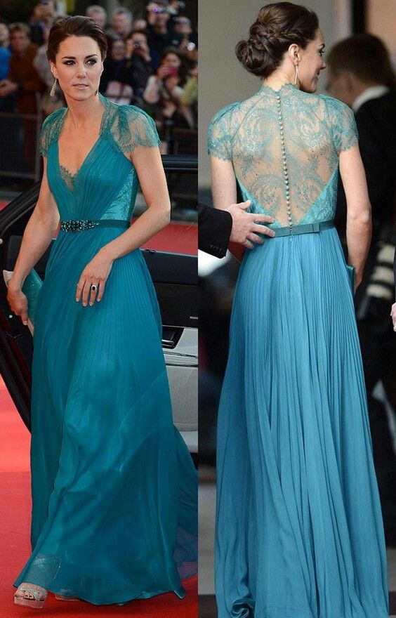Kate Middleton In A Floor Length Blue Dress With Lace And
