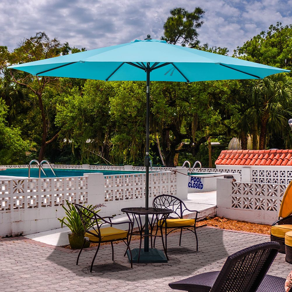 Sundale Outdoor 11 Feet Round Market Patio Umbrella Bronze Aluminum Pole,  Push Button Tilt/Crank, UV Protection And Fade Resistant Canopy, Blue