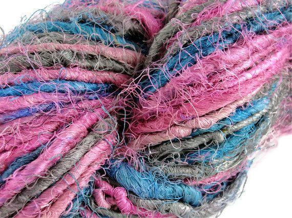 10.6 oz 300gm Recycled Pure Silk Yarn Blue Pink Grey