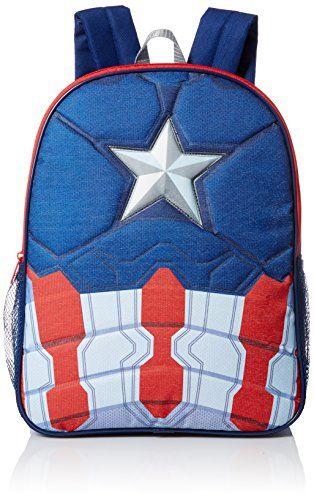 Marvel Little Boys Captain America 16 Inch Backpack Blue One Size -- Visit  the image link more details. fcd35813f9af1