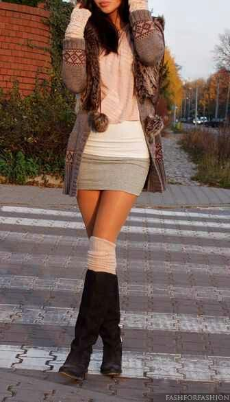 Autumn outfit, i would throw some black leggings or tights with that