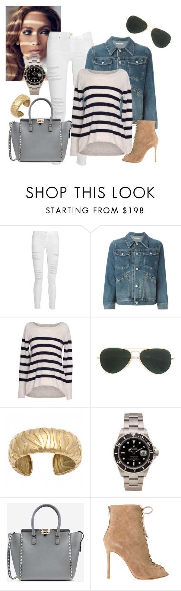 """Sunset Strip"" by saraihe ❤ liked on Polyvore featuring Jennifer Lopez, Frame Denim, AG Adriano Goldschmied, Velvet by Graham & Spencer, Ray-Ban, Rolex, Valentino, Gianvito Rossi and modern"