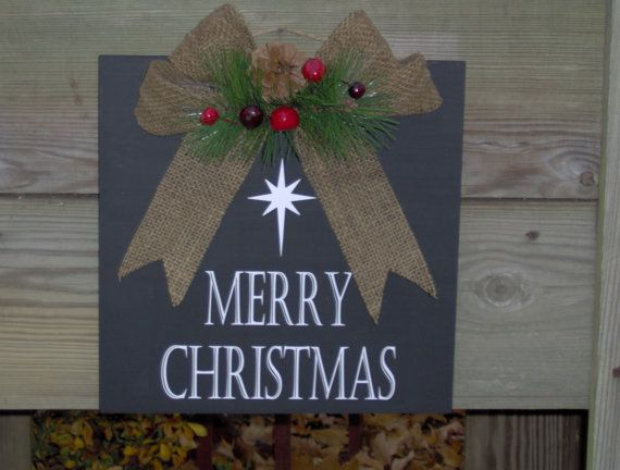 Merry Christmas Plaque With Burlap Bow And Holiday Star Wood Vinyl Sign Wreath Door Decor on Etsy, $34.99