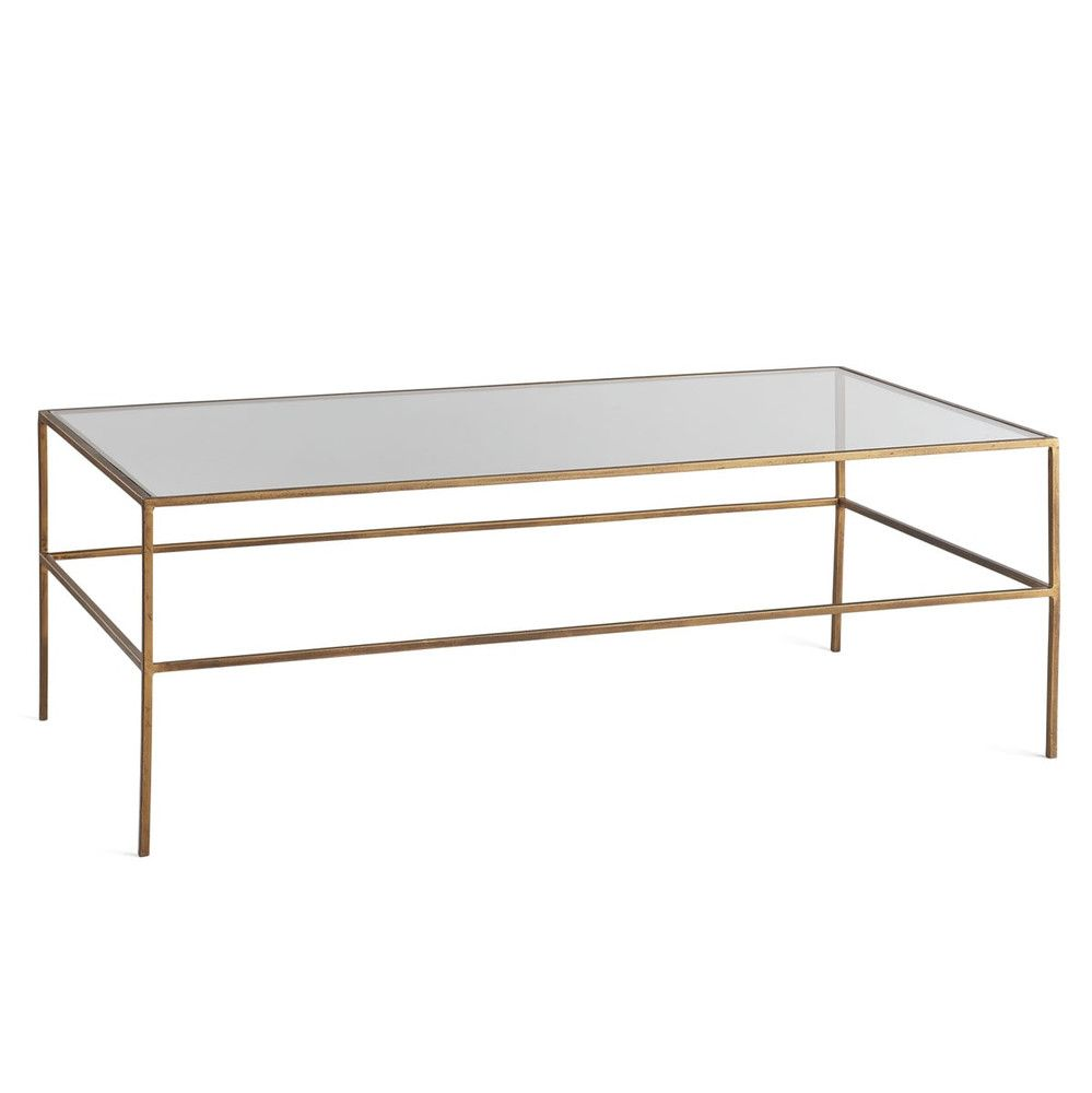 Rectangular Brass Finish And Glass Coffee Table Square Glass
