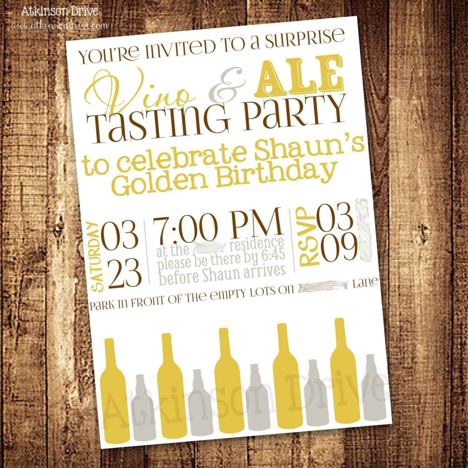 Printable Vino Ale Wine Beer Tasting Party Invitation 800