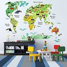 Image result for colour world map removable wall stickers kids kids educational animal world map wall stickers eveshine peel stick home decor wall art sticker mural decals for kids baby children bedroom living room gumiabroncs Image collections