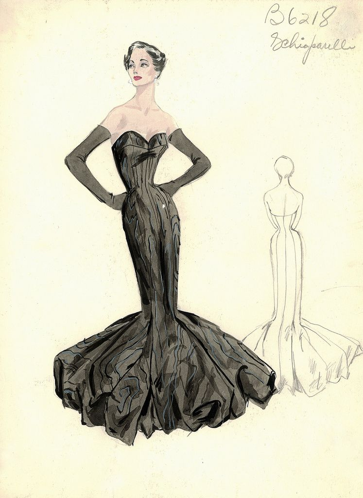 Evening gown sketch by Schiaparelli for Bergdorf Goodman, 1950s ...