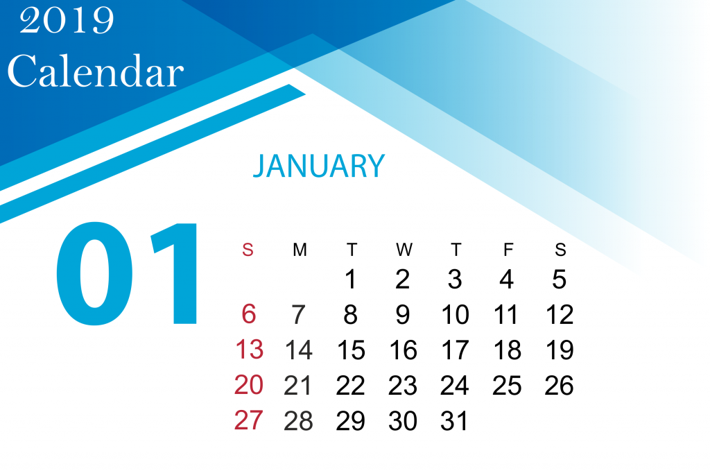 January 2019 Calendar Printable Free With Holidays January 2019