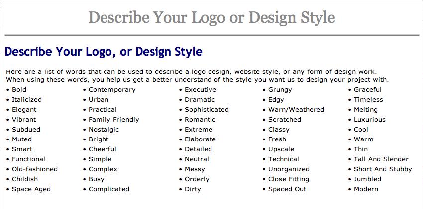 Words To Describe Your Logo Or Design Style Cross Media Pros Describe Yourself Words To Describe Descriptive Words