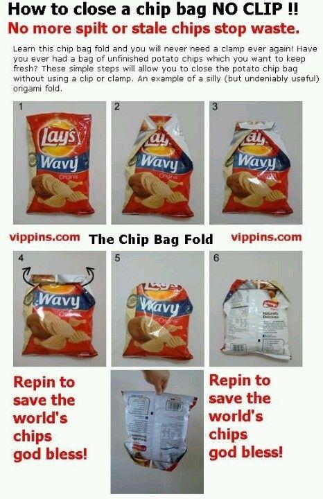 Cerrar Una Bolsa De Snacks Sin Usar Una Pinza Food Hacks Chip Bag Folding Life Hacks
