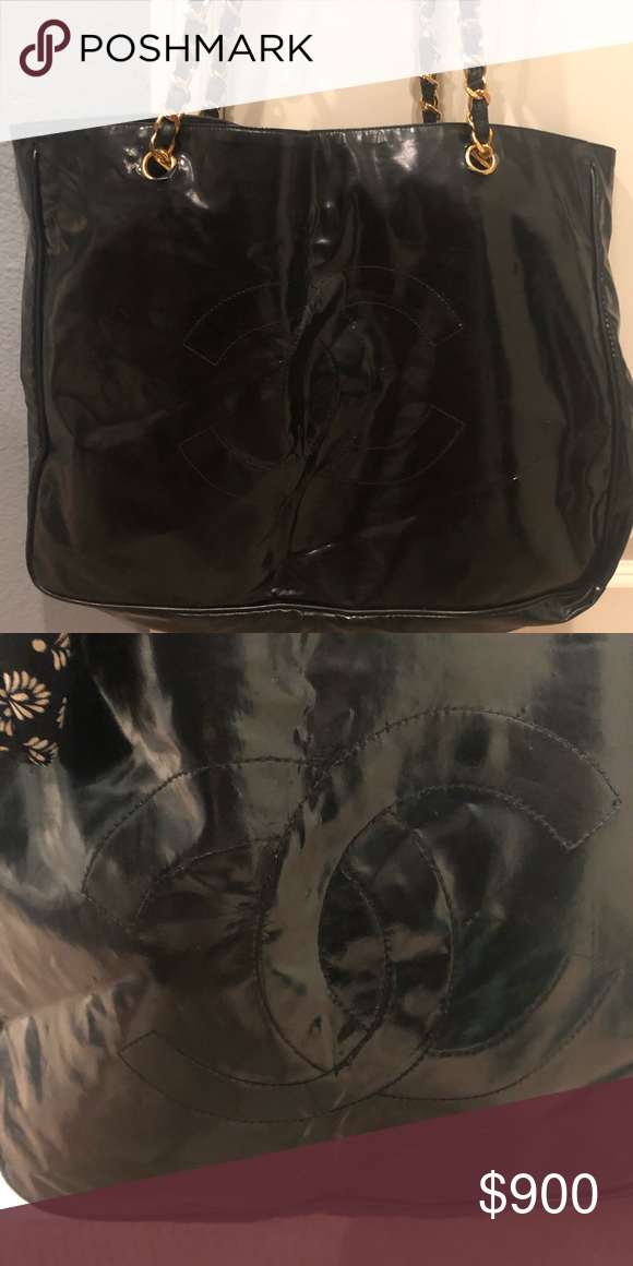 Chanel Patent Leather Bag Beautiful Authentic Vintage Chanel Black Patent Leather Large Shoulder Bag In Good Preow Vinyl Bag Patent Leather Bag Vintage Chanel