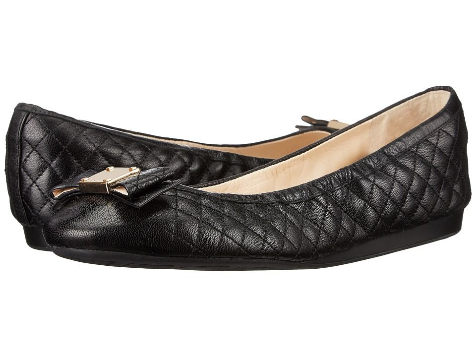 COLE HAAN COLE HAAN - TALI BOW QUILTED BALLET (BLACK QUILTED LEATHER) WOMEN'S  FLAT