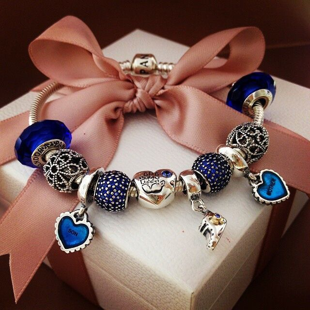 4a330e05a Pandora Bracelet Design Idea - Blue Mother/Son Design | Jewelry ...