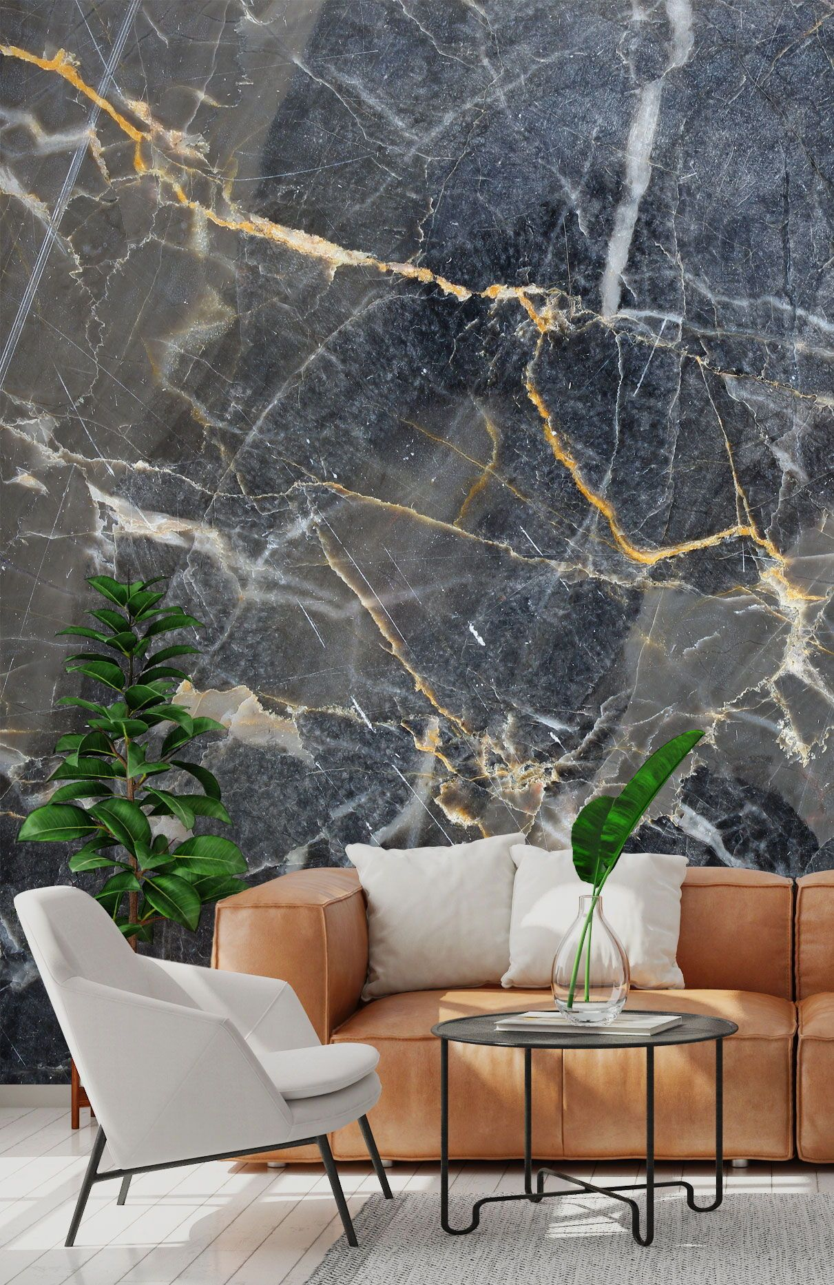 Grey With Gold Marble Texture Wallpaper Wallsauce Ca In