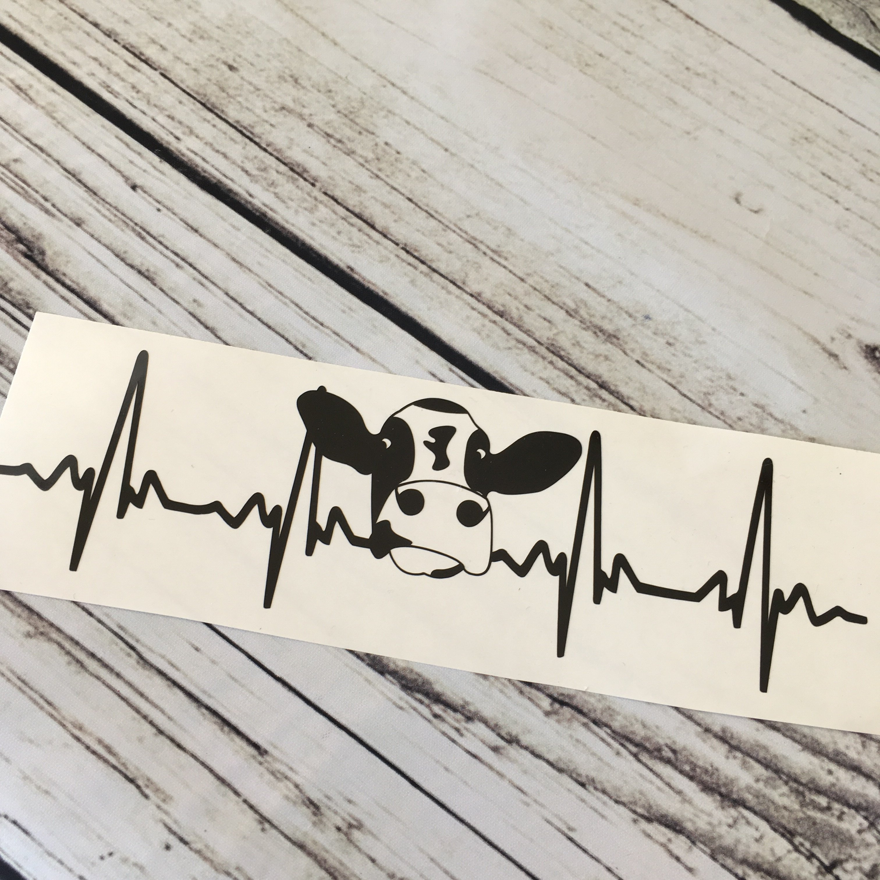 Cow EKG Decal Vinyl decals, Unfinished wood, Transfer tape