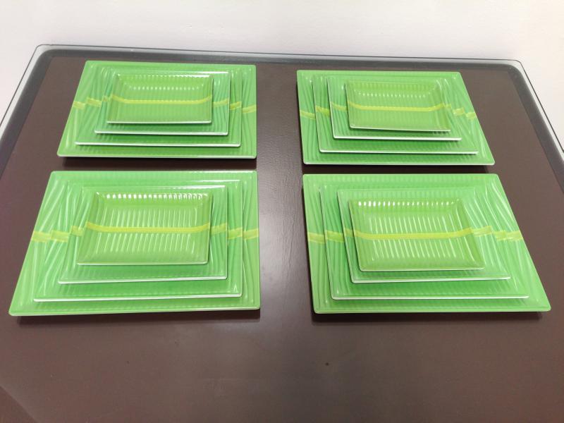 Melamine Dinnerware Sets   Details about 16-Piece Melamine Dinnerware Banana Leaf Plates Set . & 16-Piece Melamine Dinnerware Banana Leaf Plates Set Rectangle (FDA ...