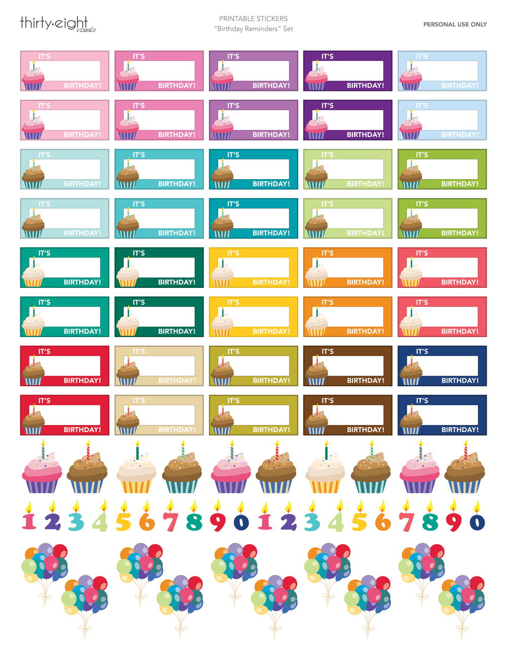 Cute birthday reminder stickers for your planner! Click here to get them!