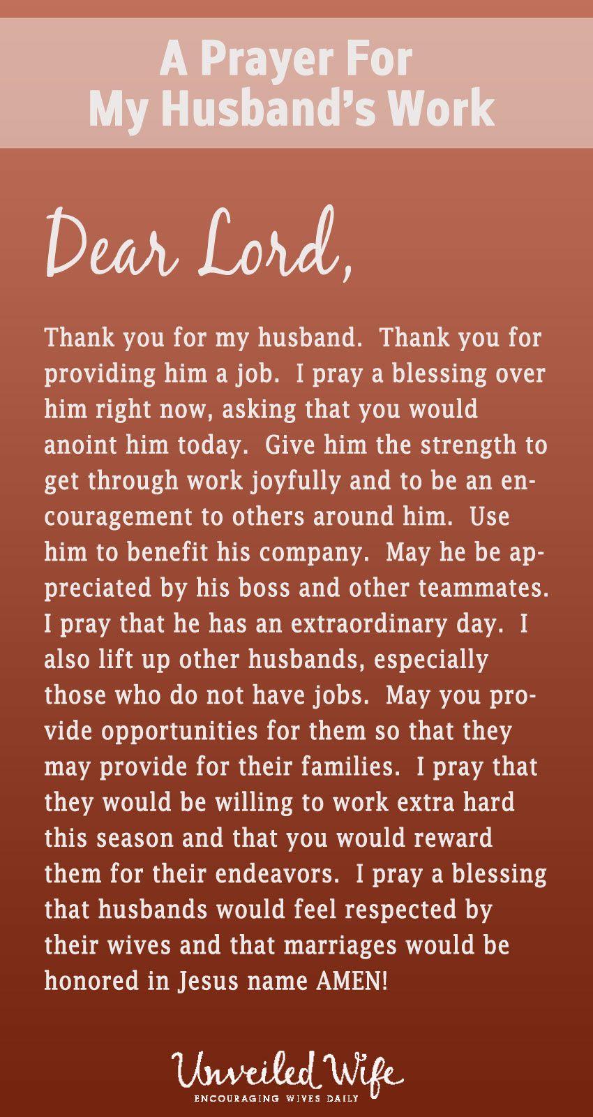 Prayer Of The Day My Husband's Job Dear god