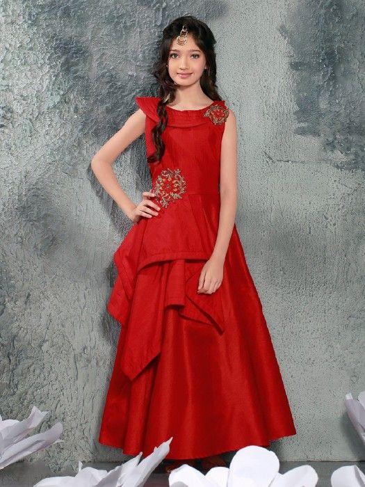 3995e0322 Plain Maroon Silk Party Wear Gown, red color, girls fashion, party wear,  wedding wear, silk fabric