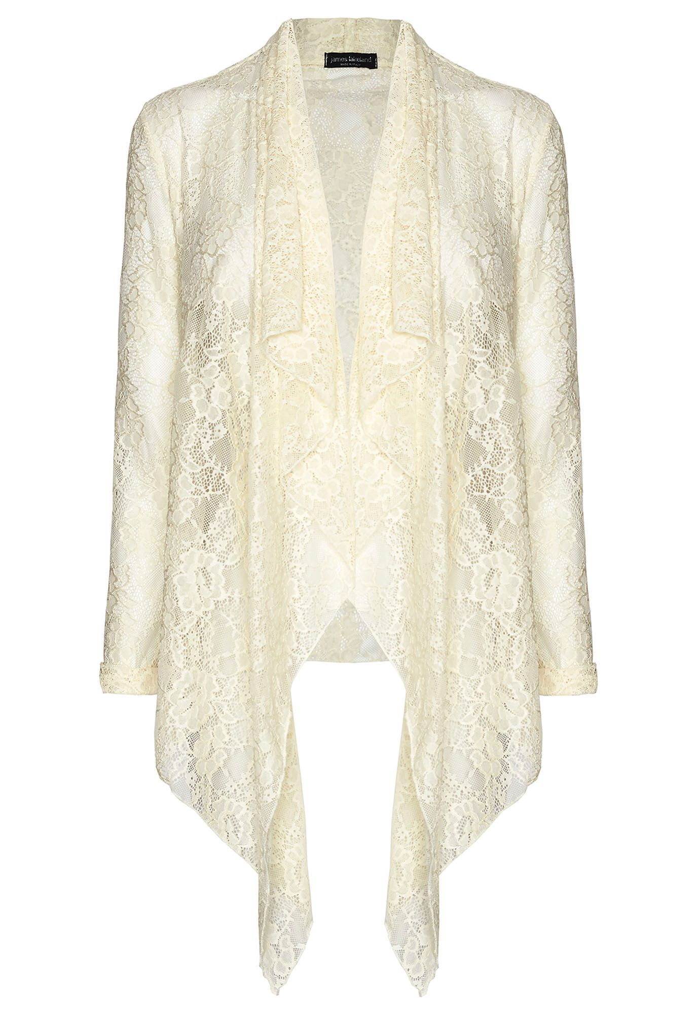 JAMES LAKELAND Beige Lace Cardigan | Body Tops / Bottoms ...