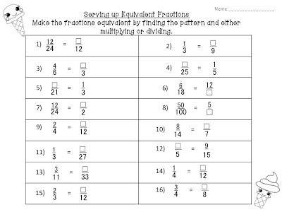 I Scream For Fractions Math Fractions Worksheets 3rd Grade Math Worksheets Fractions Worksheets 5th grade equivalent fractions worksheet