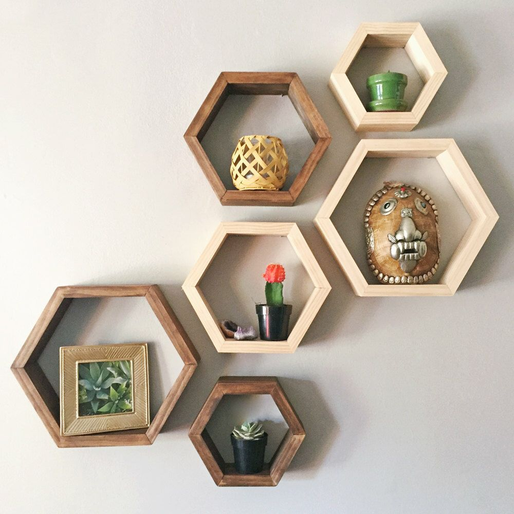Set Of 3 Hexagon Shelves By Taute On Etsy Www Etsy Com Home  # Muebles Nido De Abeja