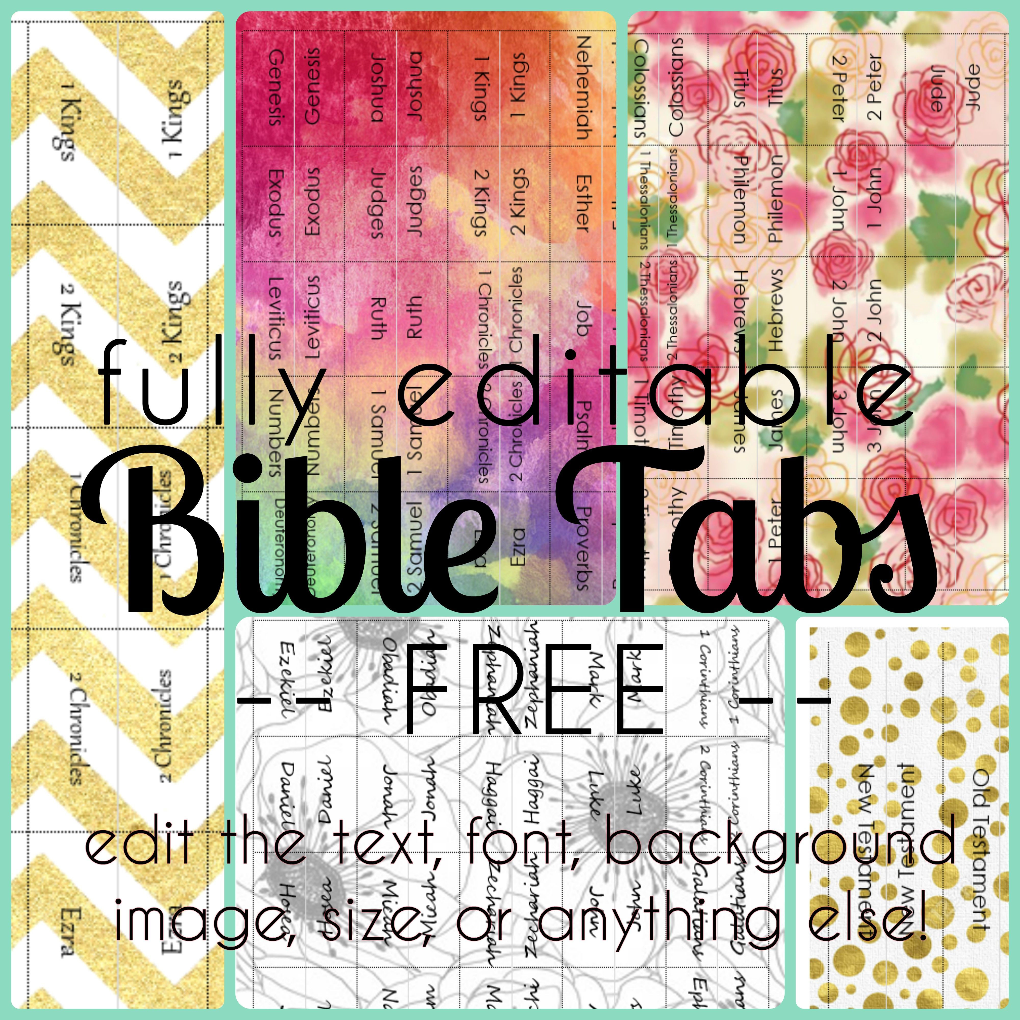 Free fully editable bible tabs (or tabs for anything