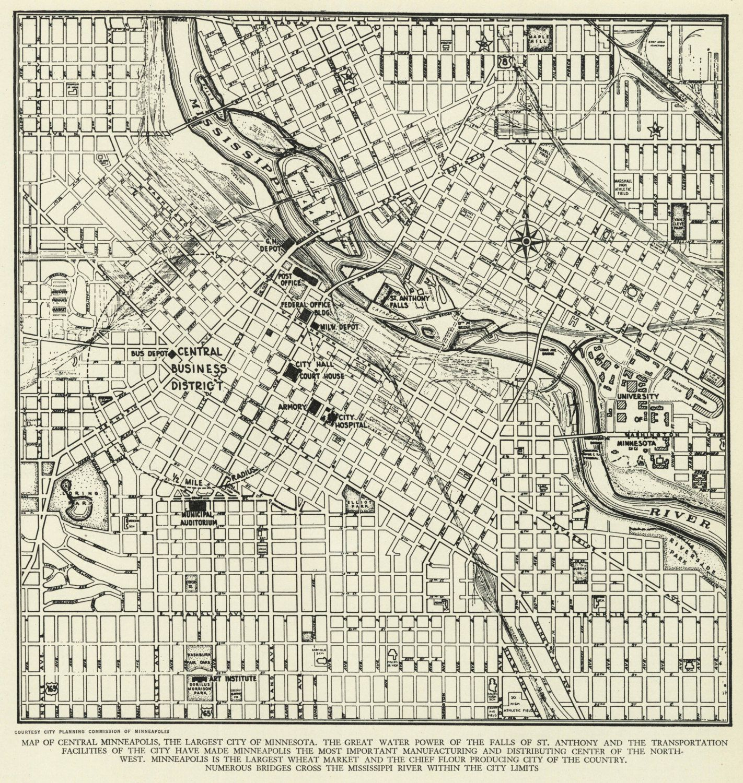 Vintage Street Map Minneapolis Minnesota From 1942 Original