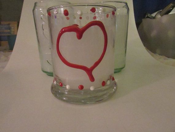 Valentine's Day Painted Heart Glass Candle Holder Glass Candle Holder Valentine's Day Decor Date Night Decor
