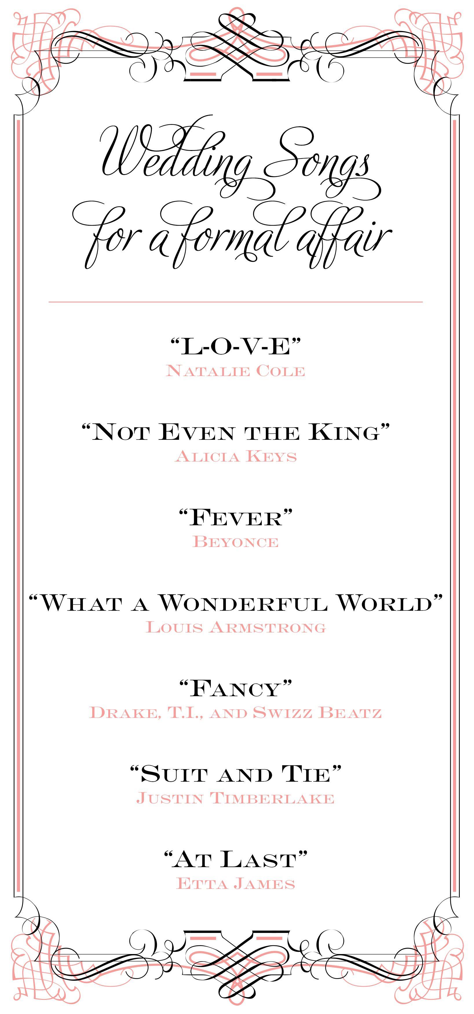 Wedding Songs For A Formal Affair Trouwen Weddingsongs