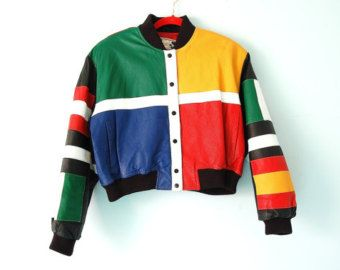 Vintage Cropped Color Block Leather Jacket In Living Color M Leather Jacket Color Block Cropped Leather Jacket